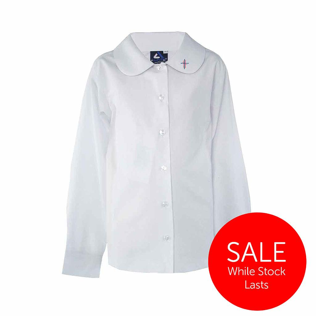 CCC Blouse Girls L/S P/Pan White K-4 (D)